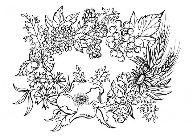 Desenho preto e branco de uma coroa de flores