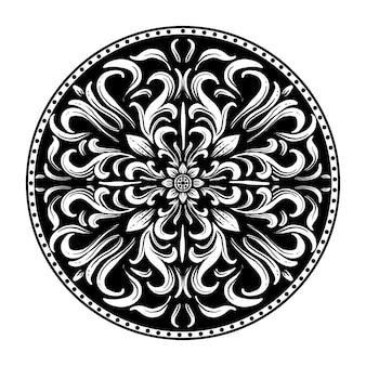 Desenho preto e branco ilustração desenhada à mão círculo gravura ornamento