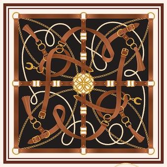 Desenho quadrado realista decorativo de cinto com ilustração de fivela e ferradura