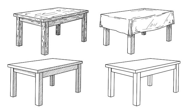 Desenho realista de diferentes tabelas em perspectiva. conjunto de mesa. ilustração