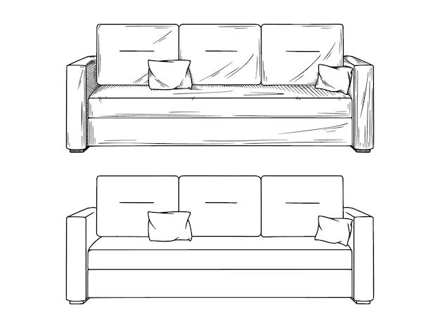 Desenho realista de sofás em fundo branco. ilustração