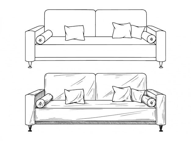 Desenho realista de sofás isolados