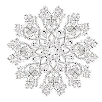 Desenho requintado de padrão de mandala em preto e branco