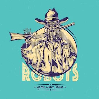 Desenho selvagem com ilustração de cowboy robô.