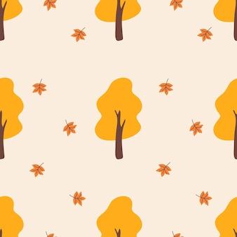 Desenho sem costura com árvores outono