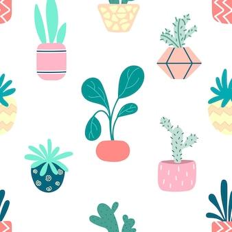 Desenho sem costura com plantas de interior em vasos caseiros. ilustração vetorial