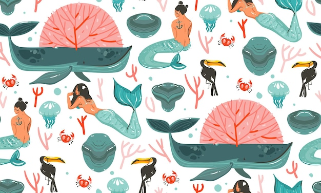 Desenho sem costura padrão desenhado à mão com recifes de corais, medusas e personagens de meninas sereias boêmias de beleza