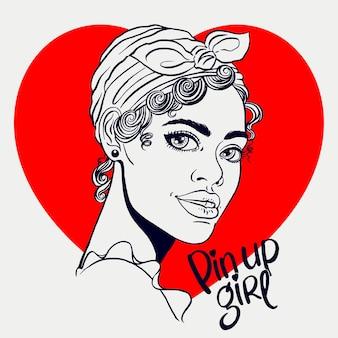Desenho sorridente atraente garota africana no estilo pin-up