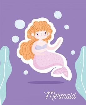 Desenho subaquático de bolhas de sereia loira linda