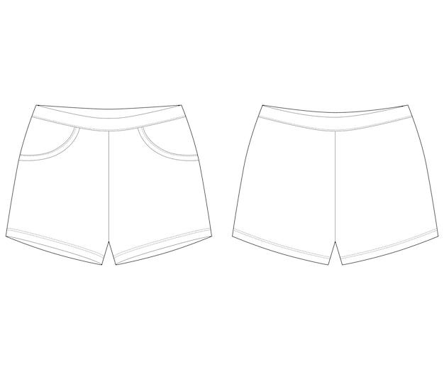 Desenho técnico de calça shorts
