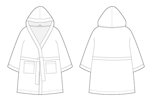 Desenho técnico de roupão infantil isolado no branco