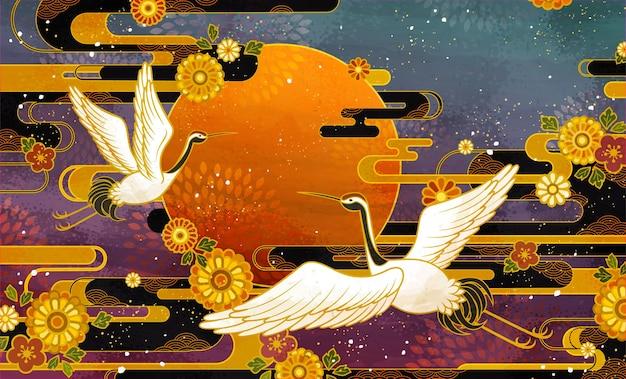 Desenho tradicional de pássaro guindaste japonês e crisântemo