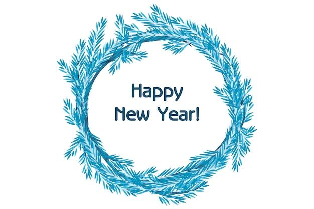 Desenho tradicional de vetor com coroa de flores azul abeto feliz ano novo