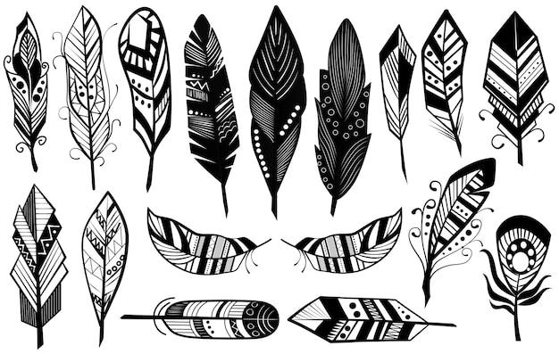 Desenho tribal incomparável de ilustração de conjunto de silhueta de penas pretas decorativas