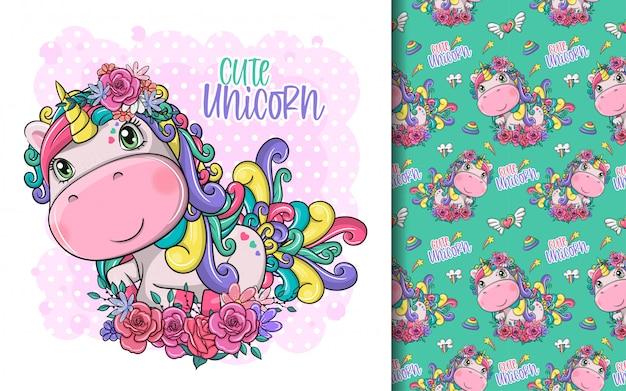 Desenho unicórnio mágico fofo com flores e conjunto de padrões
