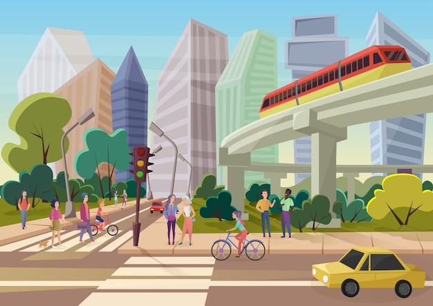 Desenho urbano moderno, rua da cidade com jovens caminhando.