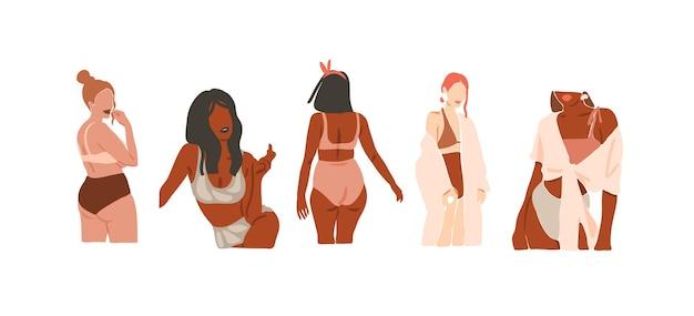 Desenho vetorial abstrato de estoque plano gráfico ilustrações de moda estética contemporânea