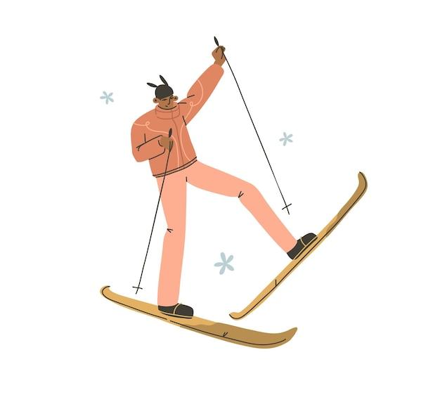 Desenho vetorial abstrato de estoque plano gráfico moderno feliz ano novo e feliz natal ilustração cartoon personagem design, de jovem feliz em traje de esquiador de inverno ao ar livre.