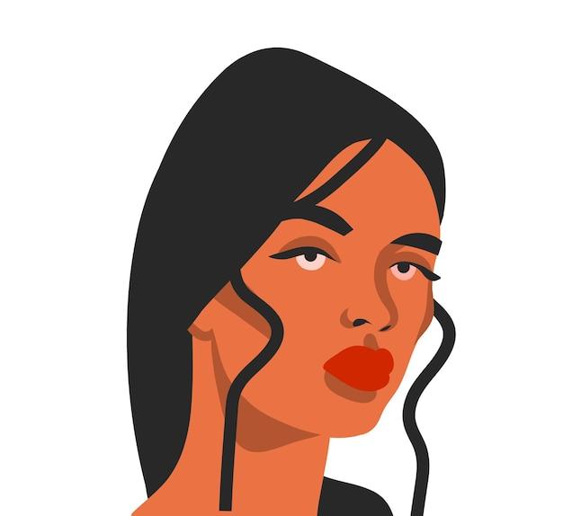 Desenho vetorial abstrato estoque ilustração gráfica plana com retrato de mulher étnica tribal bonita