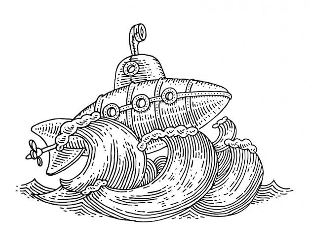 Desenho vetorial artesanal com submarino vintage