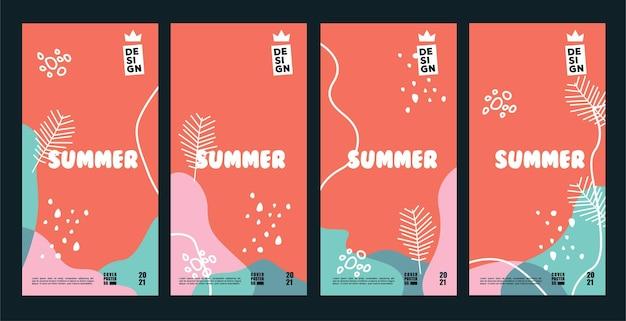 Desenho vetorial coleção de fundos e capas de pôsteres de verão