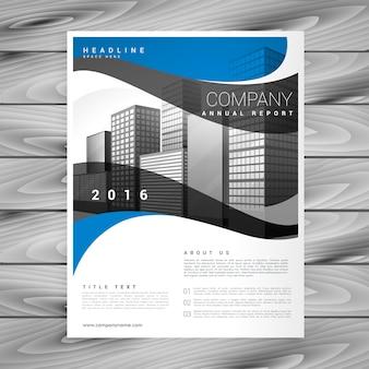 Desenho vetorial com folhetos comerciais ondulados e azuis com tamanho a4