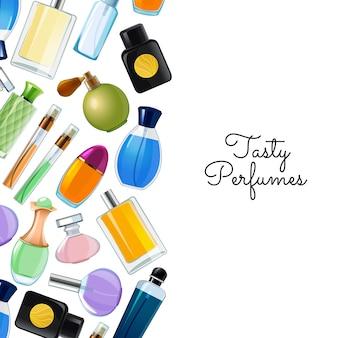 Desenho vetorial com ilustração de fundo de frascos de perfume