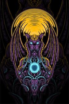 Desenho vetorial da ilustração da criatura mitológica anúbis
