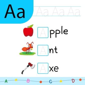 Desenho vetorial de alfabeto para criança, desenho de vetor de fonte para criança