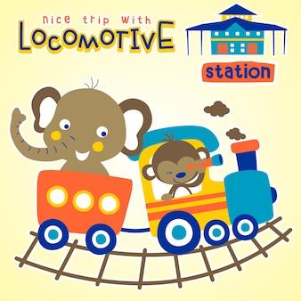 Desenho vetorial de animais engraçados no trem