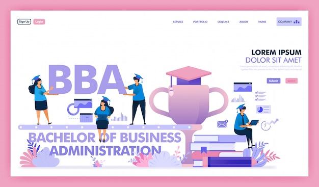 Desenho vetorial de bacharel em administração de empresas é uma universidade