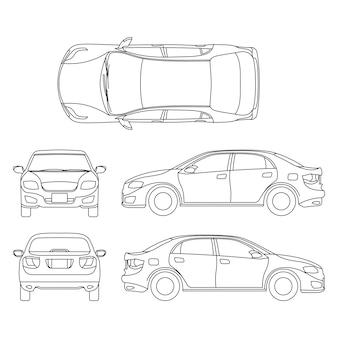 Desenho vetorial de carro sedan de contorno em diferentes pontos de vista