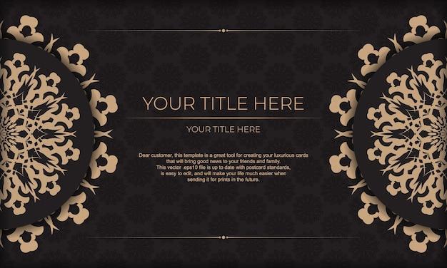 Desenho vetorial de cartão de convite com padrões vintage. banner apresentável preto com ornamentos luxuosos para seu projeto.