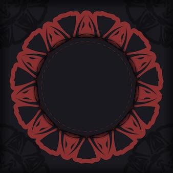 Desenho vetorial de cartão postal cores pretas com padrões gregos. design de cartão de convite com espaço para seu texto e ornamentos.