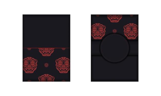 Desenho vetorial de cartão postal cores pretas com rosto com padrões de dragão chinês.