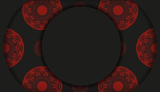 Desenho vetorial de cartão postal na cor preto-vermelho com padrões abstratos. design de cartão de convite com espaço para o seu texto e ornamentos vintage.