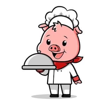 Desenho vetorial de chef porco fofo