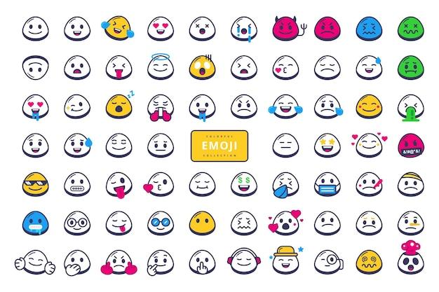 Desenho vetorial de coleção de personagens emoji desenhado à mão