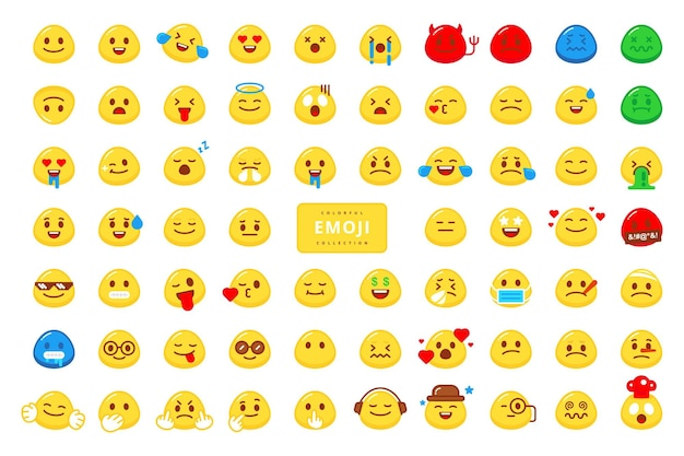 Desenho vetorial de coleção de personagens emoji