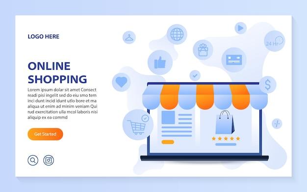 Desenho vetorial de compras online, loja online