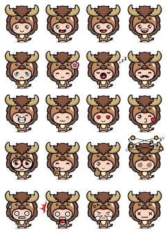 Desenho vetorial de conjunto de mascote de búfalo fofo