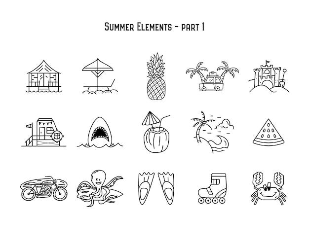 Desenho vetorial de conjunto linear simples de elementos variados de verão em fundo branco isolado
