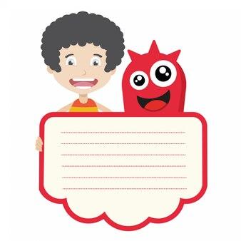 Desenho vetorial de criança e monstro com copyspace