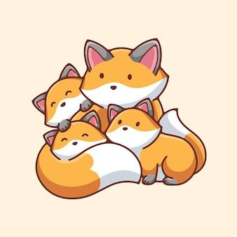 Desenho vetorial de desenho de ilustração de raposa fofa
