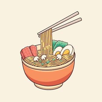 Desenho vetorial de design de ilustração de macarrão ramen fofo