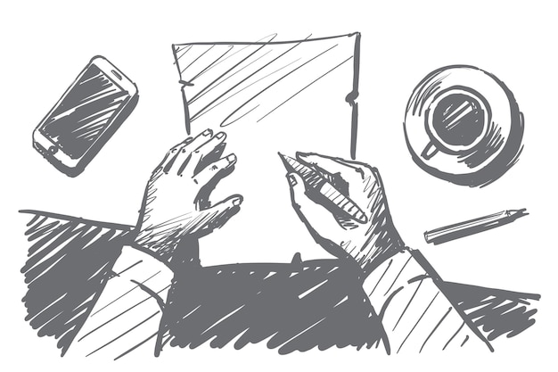 Desenho vetorial de esboço de conceito de tempo de trabalho com as mãos do empresário acima da área de trabalho fazendo anotações no caderno de papel