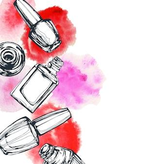 Desenho vetorial de esmaltes em estilo fashion com fundo branco cosméticos e fundo da moda