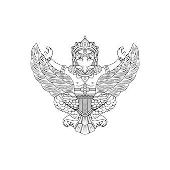 Desenho vetorial de garuda buddha illustration