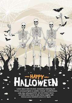 Desenho vetorial de halloween com estilo de silhueta desenhada à mão de esqueleto