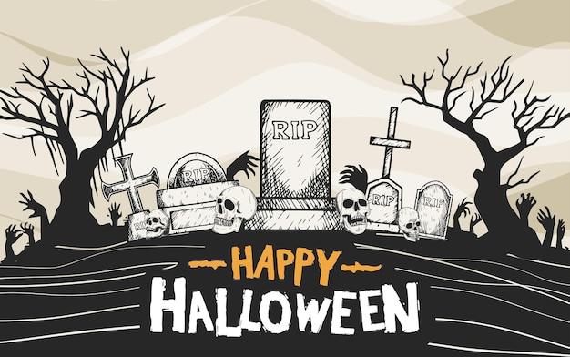 Desenho vetorial de halloween com estilo de silhueta desenhada à mão de pedra tumular